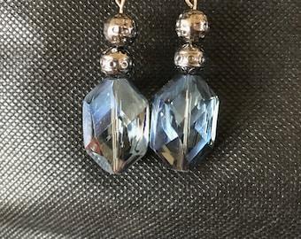 Blue rectangular crystal earrings