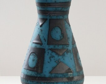 Carstens Mid Century Ankara Metallic Black & Blue West German Vase