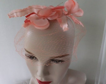 Vintage Pink Veil Netting Hat with Pink Silk Flowers Union Made Retro Wedding Prom Formal