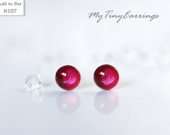 4mm Pink Anthurium Stud  Earrings Round Tiny Epoxy Resin Mini Gift for Her - Silver Plated Stainless Steel Posts 107