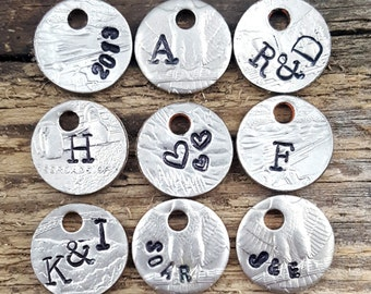 Hand Stamped Charm Necklace - Stamped Necklace Pendant - Coin Necklace - Personalized Charm Necklace - Personalized Pendant - Coin Pendant