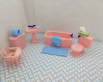 Renwal Sink Tub Hamper Toilet  Potty Chair  Doll House Toy Bathroom Hard Plastic Pink