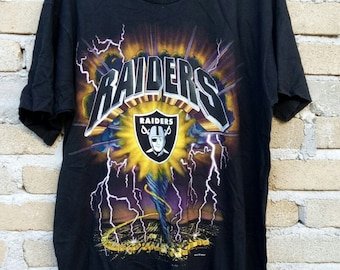 Rare!!  Vintage 90s Los Angeles RAIDERS full print nice design spell out black colour large size