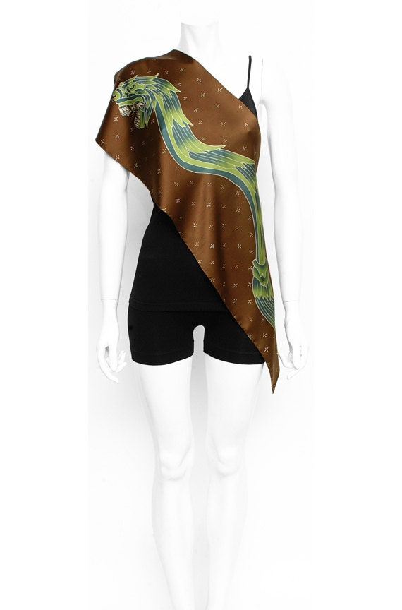 Hand Painted Silk Scarf with tribal Aztec Quesalcoatl serpent