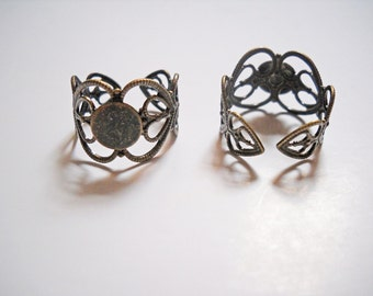 Ring Blanks Adjustable Ring Blanks Blank Rings Antiqued Bronze Filigree 5 pieces