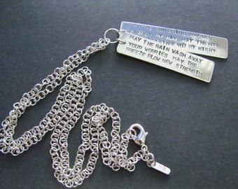 """Sterling Silver Stamped Apache Blessing Tag Pendants on a handmade 30"""" long sterling silver chain."""