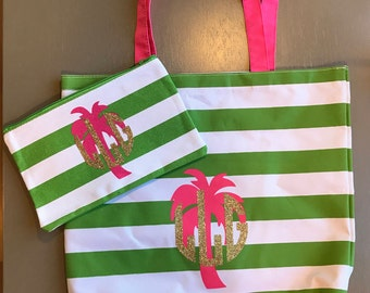 Monogramed palm tree beach tote