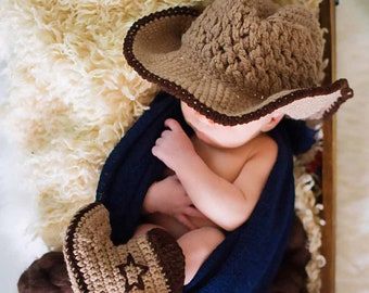 Cowboy Newborn Baby Photography Prop for boy or girl