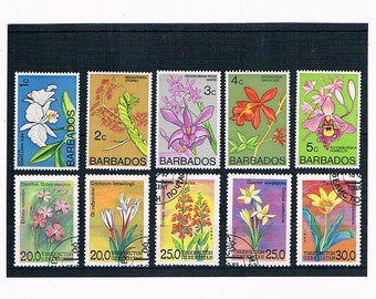 Flowers on Postage Stamps from Barbados | used vintage 1970s floral postal stamps on stock card | craft collage upcycle collect decoupage
