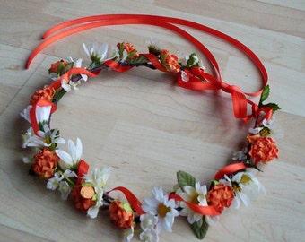 Orange Flower Crown Bridal Headpiece Tangerine summer Wedding Accessories -Paula- Daisy hair wreath flower girl halo fall autumn circlet