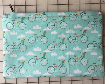 Blue Bicycle Zipper Pouch