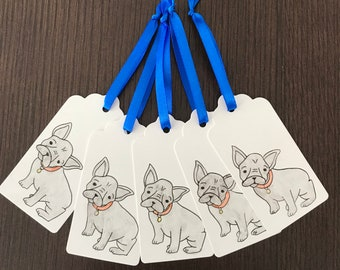 Pack of 5 hand painted french bulldog gift tags