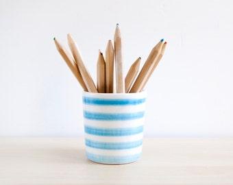 Ceramic pencil holder, Striped colored pencil holder, Gifts for teachers, Ceramics & pottery, Desk organizer, Desk accessories, Ceramics