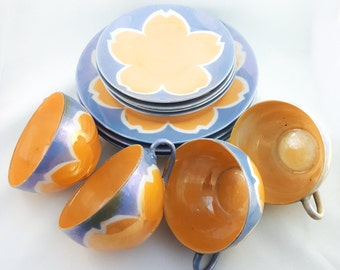 GORGEOUS Lustreware and Periwinkle Cup, Saucer and Cake Plate Set