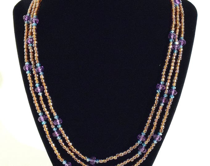 Layerable Burnt Orange, Purple and Blue Beaded Necklace- crafted by Nepalese human trafficking victims