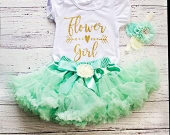 Flower Girl Outfit, Flower Girl Rehearsal Outfit, Mint Flower Girl Outfit, Petal Patrol Top, Flower Girl Gift, Wedding Rehearsal