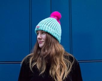 Mint-Pink Hat with furry pom pom