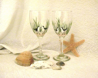 Birdies on the beach hand painted pair of wine glasses free shipping