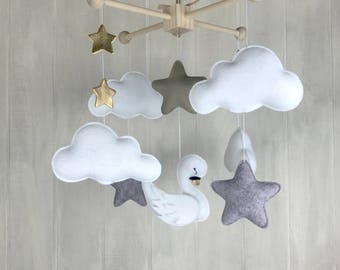 Baby mobile - cloud mobile - sleeping moon mobile - gender neutral colors - taupe mobile - star mobile - swan mobile - gold