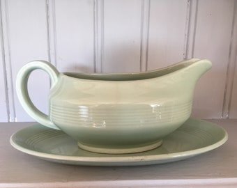 Vintage 'Beryl' Woods Ware Gravy Boat and Plate