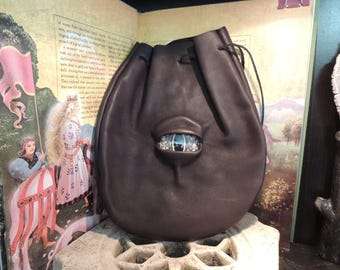 Large  Dark Brown Leather Bag with Gold Eye---New Style---