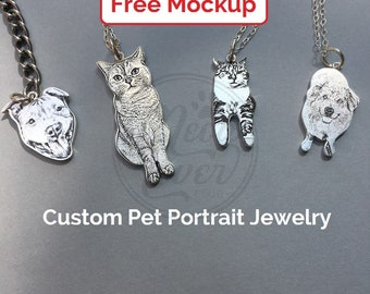 Custom pet portrait memorial necklace, keychain/Engraved pet jewelry/Personalized dog cat necklace/Dog cat lovers gift/Pet loss keepsake