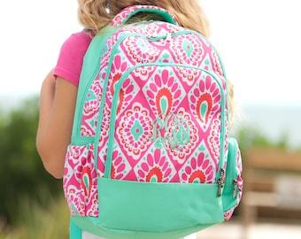 Personalized Pink Aqua Ikat Backpack- Beachy Keen Ikat Backpack- children's-toddler-preschool-teen- back to school