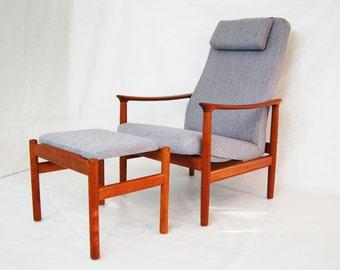 Scandinavian Teak Reclining Lounge Chair and Ottoman with Headrest