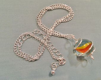 Silver Wire Caged Marble Pendant Necklace #20027