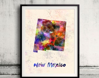 New Mexico state in watercolor INSTANT DOWNLOAD 8x10 inches Fine Art Print Poster Decor Home Watercolor Illustration - SKU 0287