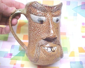 Pottery Gift for Dad Vintage NC Pottery Ugly Jug Funny FACE, Large Mug Orange Peel Salt Glaze Texture, Fu Manchu Mustache, Gold Veneer Tooth