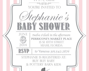 BabyShower Girl Invitation. Carriage baby PDF File ONLY