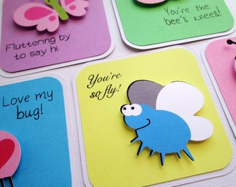 Lunchbox notes, lunch box notes, backpack notes, love notes set of 5 Bugs