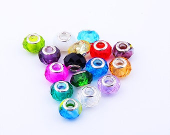 Wholesale 50Pcs/lot Mix Color Faceted Crystal Wheel beads Big Hole european bead For DIY Bracelet High quality Rondellen Beads