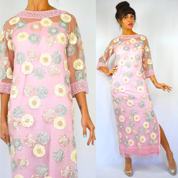Vintage 60s Bubblegum Pink Pastel Beaded and Sequined Mesh Lace Bell Sleeved Evening Gown (size small, medium)