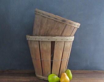 Vintage Orchard Basket, Apple Basket Vintage, Fruit Basket, Split Wood Basket,  Farmhouse Decor, Rustic Wedding Decor, Bushel Basket