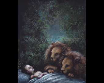 Fairy Tale, St. Paul, The Hermit, Forest, Lions, The Golden Legend, Folk Tale, Apocrypha, Original Painting, Dark Forest, Death, Sleep
