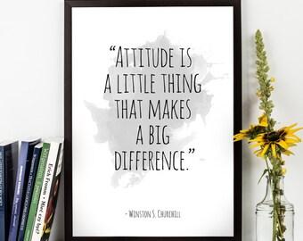 Attitude is  ... , Winston Churchill Quote, Winston Churchill Watercolor Poster, Wall art, Motivational quote, Inspirational quote,