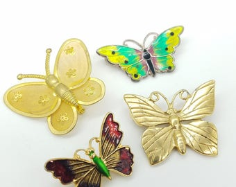 Lot of 4 Vintage Butterfly Brooches