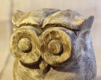 Vintage Wooden Owl Sculpture / Black Walnut Decor