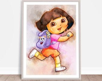 Dora the Explorer Wall Hanging, Watercolor Painting Effect, Instant Download, Digital Printable Design, Nursery Decor, Kids Art, Baby Poster