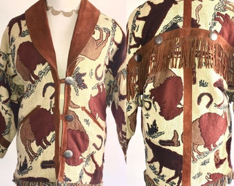 Vtg PIONEER WEAR ALBUQUERQUE Womens Jacket Western Suede Leather Fringe Sz Small