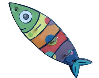 Key holder or Rainbow Sardine wooden wall hanger