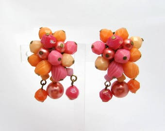West Germany Cluster Earrings - Pink & apricot festive dangles - clips - 1960s