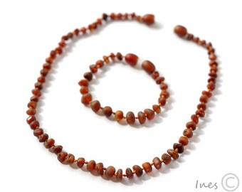 Raw Unpolished Genuine Amber Teething Necklace and Bracelet/Anklet, Baltic Amber Baby Set