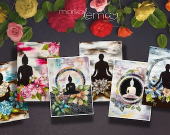6 Bouddha card pack floral and zen by Marika Lemay mixed media artist with Bouddha flowers in a zen decor to bring calm and inspiration