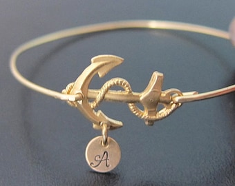 Anchor Bracelet, Womens Personalized Anchor Jewelry with Hand Stamped Initial Charm, Sailing Gift for Sailor, Nautical Jewelry