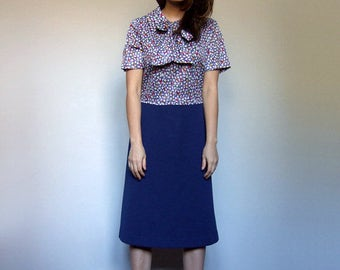 Secretary Dress Vintage Short Sleeve Dress Tie Neck Dress Collared Dress Work Dress Blue Dress - Large to Extra Large L XL