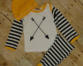 Yellow and black Baby Boy Set Outfit