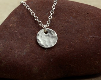 Small Hammered Silver Disc Necklace with Sterling Silver Chain, Hammered Silver Necklace, Sterling Silver Necklace, Silver Chain Necklace
